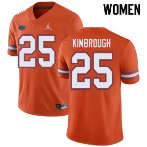 Jordan Brand Women #25 Chester Kimbrough Florida Gators College Football Jerseys Orange 705361-926