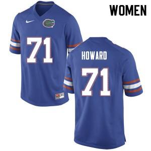 Women #71 Chris Howard Florida Gators College Football Jerseys Blue 287786-739