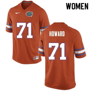 Women #71 Chris Howard Florida Gators College Football Jerseys Orange 328044-885