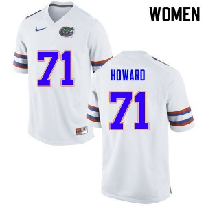 Women #71 Chris Howard Florida Gators College Football Jerseys White 267798-491