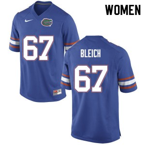 Women #67 Christopher Bleich Florida Gators College Football Jerseys Blue 733658-489