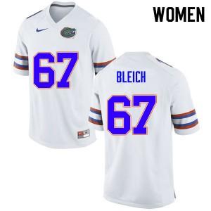 Women #67 Christopher Bleich Florida Gators College Football Jerseys White 810620-226