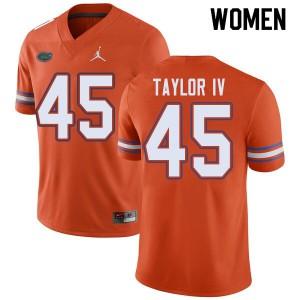 Jordan Brand Women #45 Clifford Taylor IV Florida Gators College Football Jerseys Orange 973987-140