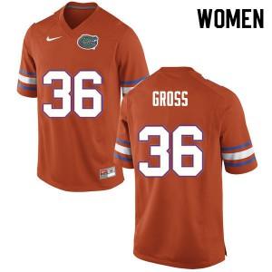 Women #36 Dennis Gross Florida Gators College Football Jerseys Orange 411730-854