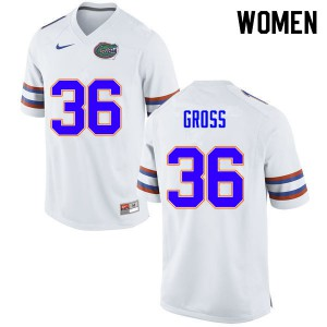 Women #36 Dennis Gross Florida Gators College Football Jerseys White 248077-905