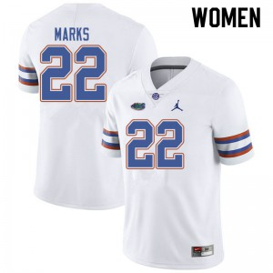 Jordan Brand Women #22 Dionte Marks Florida Gators College Football Jerseys White 799725-333
