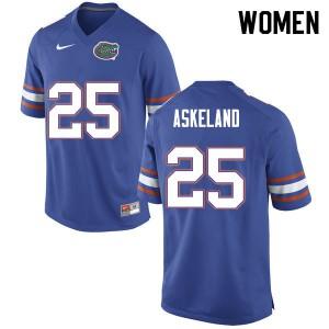 Women #25 Erik Askeland Florida Gators College Football Jerseys Blue 383069-786