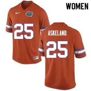 Women #25 Erik Askeland Florida Gators College Football Jerseys Orange 386073-443