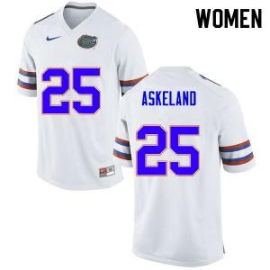 Women #25 Erik Askeland Florida Gators College Football Jerseys White 227925-441