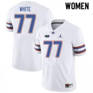 Jordan Brand Women #77 Ethan White Florida Gators College Football Jerseys White 314924-623