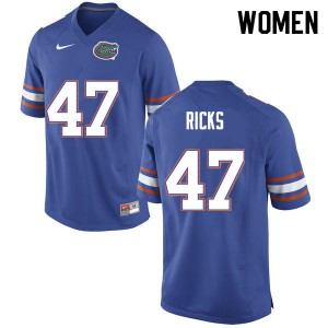 Women #47 Isaac Ricks Florida Gators College Football Jerseys Blue 827303-427