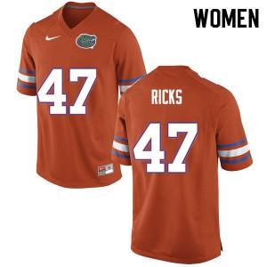 Women #47 Isaac Ricks Florida Gators College Football Jerseys Orange 558080-326