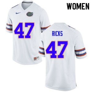 Women #47 Isaac Ricks Florida Gators College Football Jerseys White 881214-753