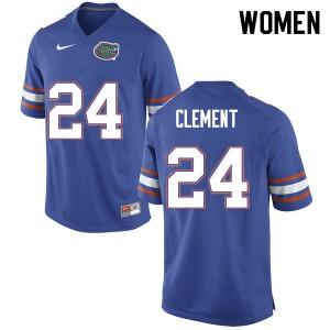 Women #24 Iverson Clement Florida Gators College Football Jerseys Blue 478108-345