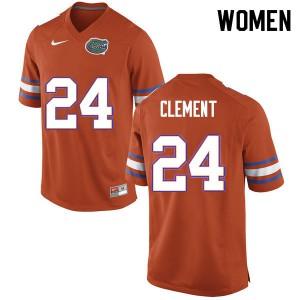 Women #24 Iverson Clement Florida Gators College Football Jerseys Orange 505777-402