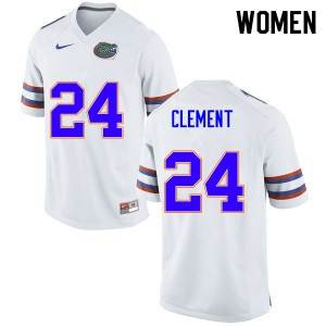 Women #24 Iverson Clement Florida Gators College Football Jerseys White 200403-930