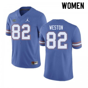 Jordan Brand Women #82 Ja'Markis Weston Florida Gators College Football Jerseys Blue 188438-609
