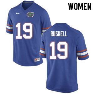 Women #19 Jack Ruskell Florida Gators College Football Jerseys Blue 844454-602