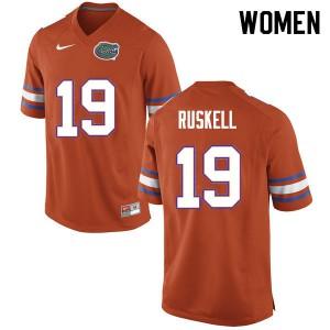 Women #19 Jack Ruskell Florida Gators College Football Jerseys Orange 753977-636