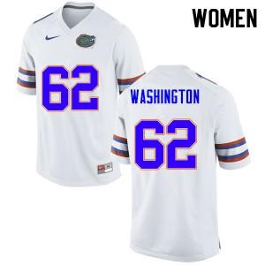 Women #62 James Washington Florida Gators College Football Jerseys White 837488-579
