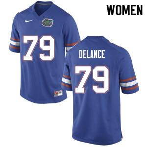 Women #79 Jean DeLance Florida Gators College Football Jerseys Blue 252509-132