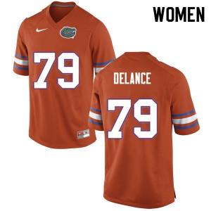 Women #79 Jean DeLance Florida Gators College Football Jerseys Orange 706573-538