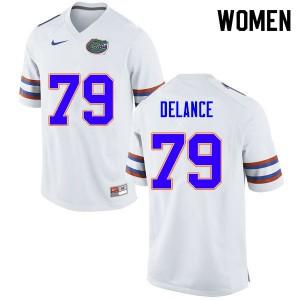 Women #79 Jean DeLance Florida Gators College Football Jerseys White 836741-582