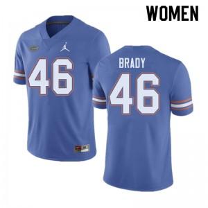 Jordan Brand Women #46 John Brady Florida Gators College Football Jerseys Blue 442912-613
