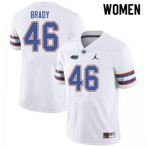 Jordan Brand Women #46 John Brady Florida Gators College Football Jerseys White 420583-631