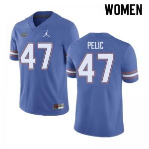 Jordan Brand Women #47 Justin Pelic Florida Gators College Football Jerseys Blue 527982-301