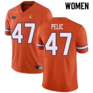 Jordan Brand Women #47 Justin Pelic Florida Gators College Football Jerseys Orange 284395-783