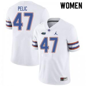 Jordan Brand Women #47 Justin Pelic Florida Gators College Football Jerseys White 609364-468