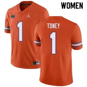 Jordan Brand Women #1 Kadarius Toney Florida Gators College Football Jerseys Orange 408146-963