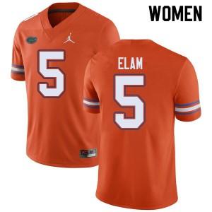 Jordan Brand Women #5 Kaiir Elam Florida Gators College Football Jerseys Orange 718205-599