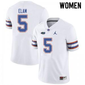 Jordan Brand Women #5 Kaiir Elam Florida Gators College Football Jerseys White 616818-663