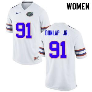 Women #91 Marlon Dunlap Jr. Florida Gators College Football Jerseys White 781851-153