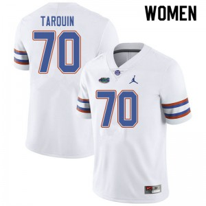 Jordan Brand Women #70 Michael Tarquin Florida Gators College Football Jerseys White 314096-579