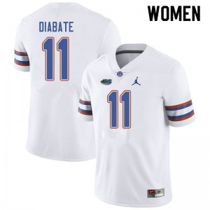 Jordan Brand Women #11 Mohamoud Diabate Florida Gators College Football Jerseys White 976621-704