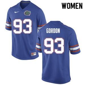 Women #93 Moses Gordon Florida Gators College Football Jerseys Blue 127959-218
