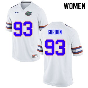 Women #93 Moses Gordon Florida Gators College Football Jerseys White 380326-631