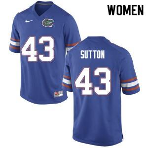 Women #43 Nicolas Sutton Florida Gators College Football Jerseys Blue 228043-450