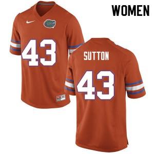 Women #43 Nicolas Sutton Florida Gators College Football Jerseys Orange 371402-370