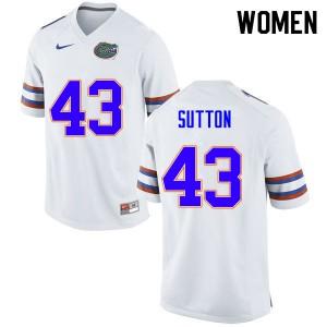 Women #43 Nicolas Sutton Florida Gators College Football Jerseys White 455858-709