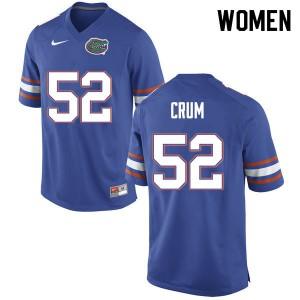 Women #52 Quaylin Crum Florida Gators College Football Jerseys Blue 331546-393