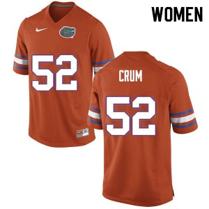 Women #52 Quaylin Crum Florida Gators College Football Jerseys Orange 988476-875
