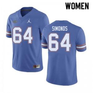 Jordan Brand Women #64 Riley Simonds Florida Gators College Football Jerseys Blue 202634-266