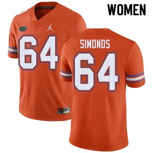 Jordan Brand Women #64 Riley Simonds Florida Gators College Football Jerseys Orange 698330-821