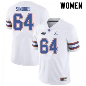 Jordan Brand Women #64 Riley Simonds Florida Gators College Football Jerseys White 998153-693
