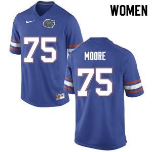 Women #75 T.J. Moore Florida Gators College Football Jerseys Blue 516557-509