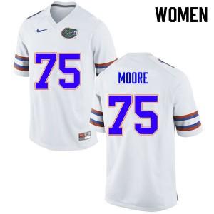 Women #75 T.J. Moore Florida Gators College Football Jerseys White 883698-130